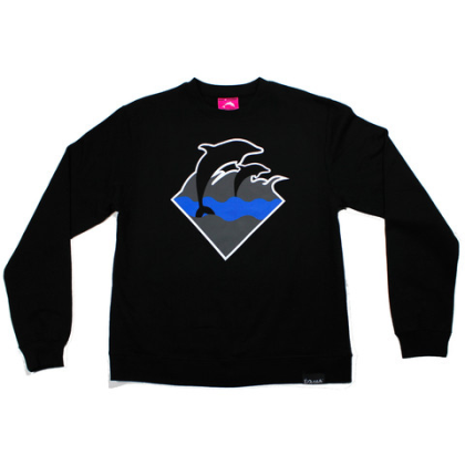 waves crewneck black
