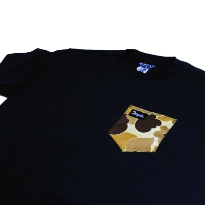 Navy Duck Camo Pocket Tee Close Up