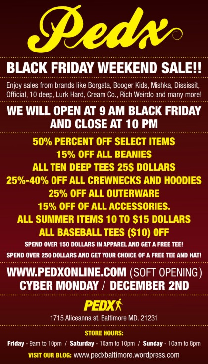 PEDX BLACK FRIDAY FLYER